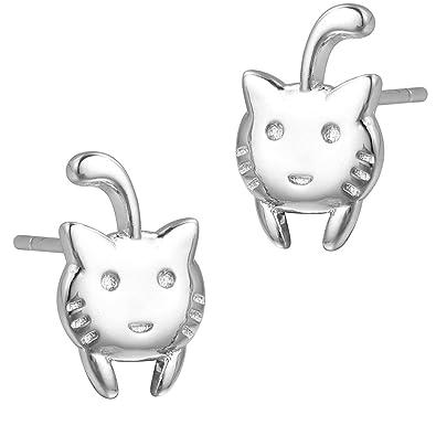 Lovely Cat Animal 925 Sterling Silver Stud Earrings Friend Punk Pet Lover Gift lcoLo