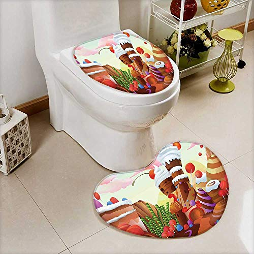 2 Piece Bathroom Toilet mat Charlies Chocolate Fabric Like Print Lollipops Creams Cakes Image Multicolor Personalized Durable
