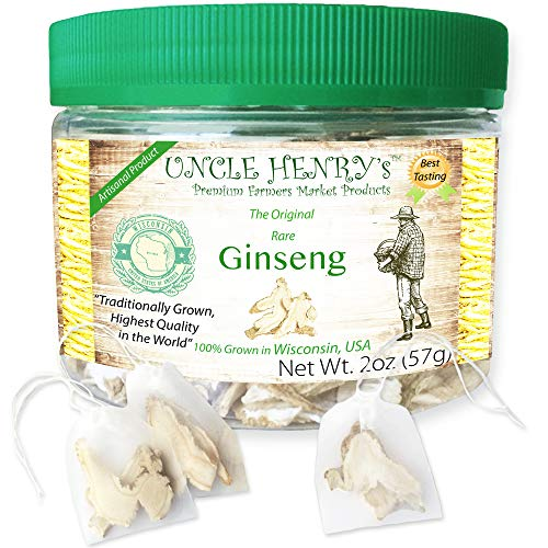 Ginseng from Wisconsin, Rare 4 Year-Old Roots (2oz) USA #1 Best Taste Premium Fresh Farmers Market Quality. Big Double-Sealed Artisan Product, Original Green Lid