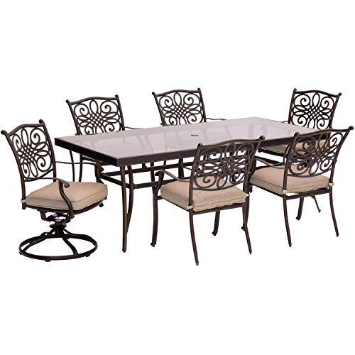 Hanover TRADDN7PCSWRD6 7-Piece Tan Six Swivel Rockers Traditions Dining Set with 60' Round Cast-top...