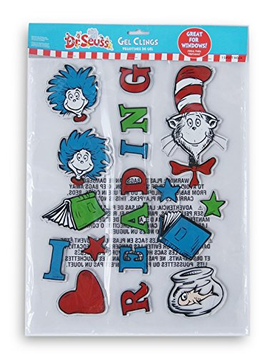 Amscan Dr. Seuss Cat in the Hat Vinyl Gel Cling Decals - 18ct]()