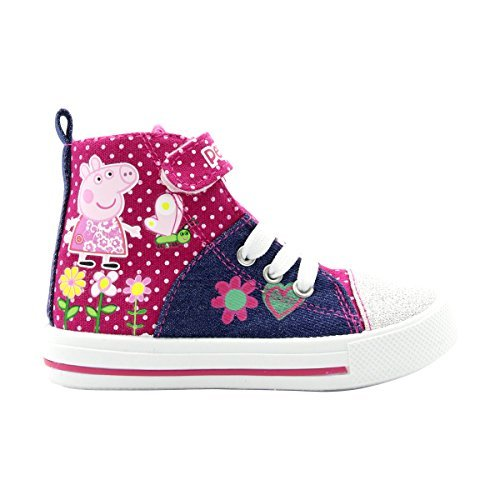 Peppa Pig Denim And Pink Toddler High Top Sneakers Size 7