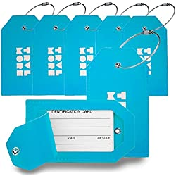 7 Pack TravelMore PU Leather Luggage Tags For Suitcases w/Privacy Cover - Travel ID Identifier Labels Set For Bags & Baggage - Men & Woman - Blue