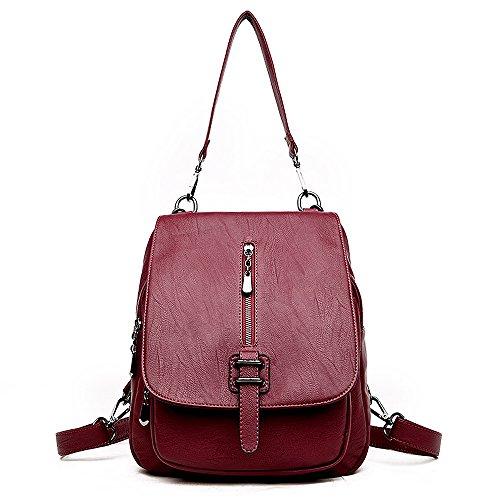 (JVP1069-C) Top Layer cowhide mochila impermeable niñas linda cuero natural de gran capacidad bolsos de moda mochila de moda ligero escuela suburbana Vino Tinto