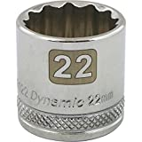 Dynamic Tools 3/8-Inch Drive 12 Point Metric, 22-Millimeter Standard Length, Chrome Finish Socket