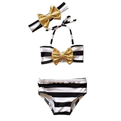 a3ac359213 Simayixx Summer Toddler Kids Baby Girl 3pcs Baby Girls Bowknot Bikini Suit Striped  Swimsuit Swimwear Bathing