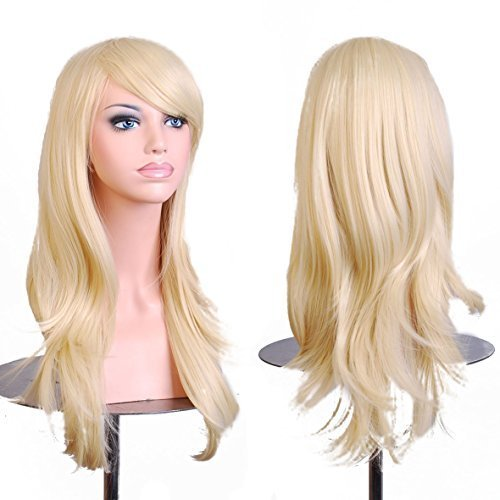 (BERON Long Wavy Curly Wig High Standard Silk Female Cosplay Wig with Wig Cap (27'' Light Blonde))