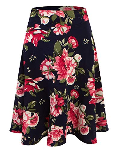 DOUBLJU Womens High Waist Midi A-Line Skirt NAVYFLOWER 2XL