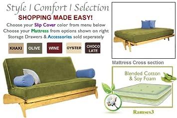 the futon shop dillon maple full olive wall hugger sofa bed   love seat sets amazon    the futon shop dillon maple full olive wall hugger      rh   amazon