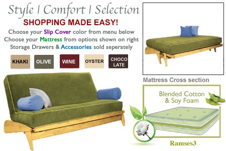 Solid Maple Futon (THE FUTON SHOP DILLON MAPLE FULL KHAKI WALL HUGGER SOFA BED / LOVE SEAT SETS)