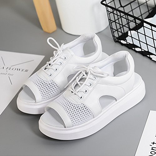Chaussures Femmes JRenok Blanc Respirant Sandales Compensées de Antidérapantes Filet 40 35 qASZrqO