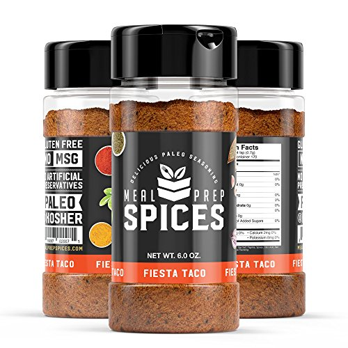 Meal Prep Spices Fiesta Taco Seasoning - Paleo, Kosher, and Gluten Free - Three (3) 6oz Bottle (Korean Beef Recipe Ground Beef)