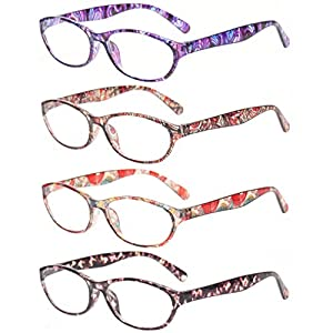 Reading Glasses Eyeglasses With Floral Design Fashion Readers for Women (4 Pack Mix Color, 1.25)
