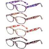 Reading Glasses Eyeglasses With Floral Design Fashion Readers for Women (4 Pack Mix Color, 1.5)