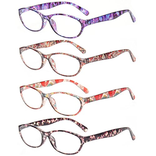 Reading Glasses Eyeglasses With Floral Design Fashion Readers for Women (4 Pack Mix Color, - Eyeglasses 1