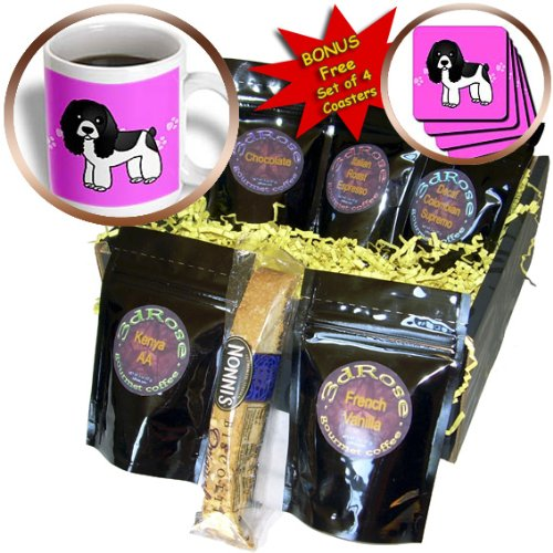Janna Salak Designs Dogs - Cute Black and White Cocker Spaniel Pink with Pawprints - Coffee Gift Baskets - Coffee Gift Basket - Paw Print Dogs Spaniel