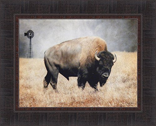 The Bison by Lori Deiter 17x21 Framed Art Print Picture Buffalo Windmill Field Plains
