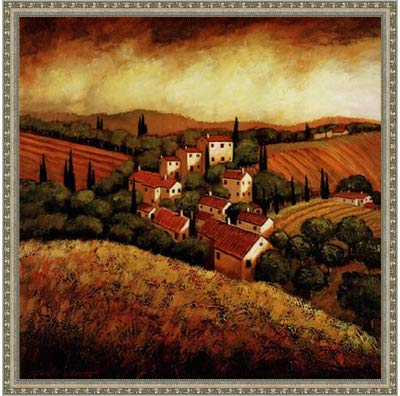 (Poster Palooza Framed Tuscan Hillside Village- 24x24 Inches - Art Print (Ornate Silver Frame))