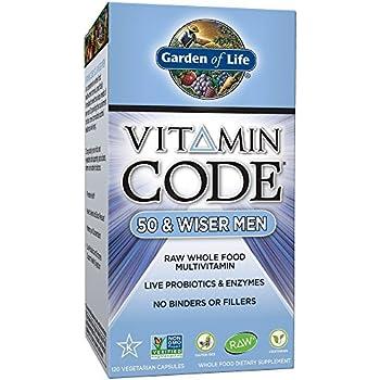 Garden of Life Multivitamin for Men - Vitamin Code 50 & Wiser Men's Raw Whole Food Vitamin Supplement with Probiotics, Vegetarian, 120 Capsules
