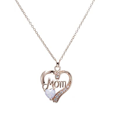 Amazon.com  Thenxin Sterling Silver Women s Necklaces MOM Pendants with Love  Heart Shape Opal Stone(Rose Gold 765b101c9
