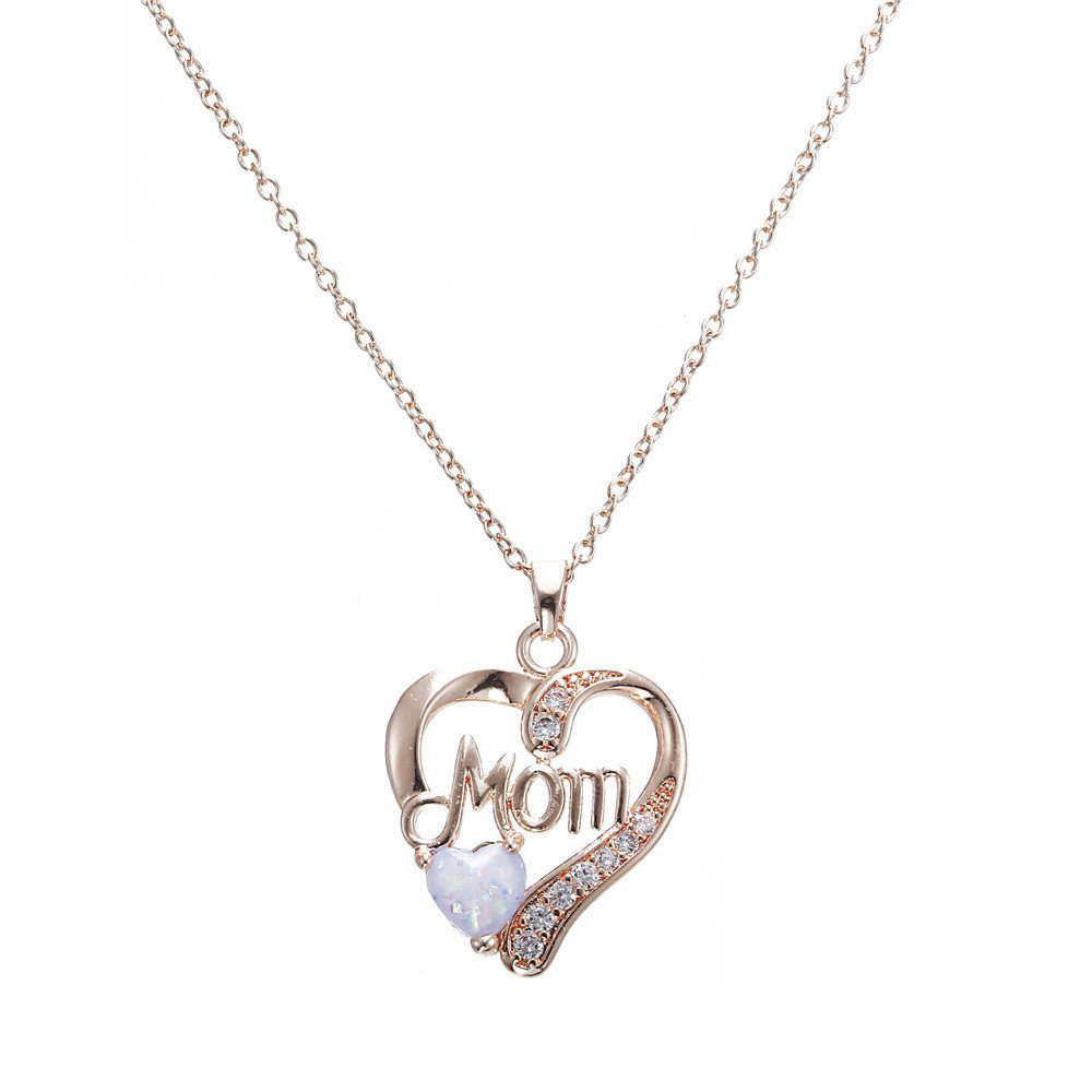 Voberry- Love Heart Pendant Necklace Heart Choker Necklaces with Crystals for Women Mother, Birthday Anniversary Valentine's Day for Her (B)