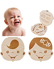Baby Tooth Box - Wooden Kids Keepsake Organizer Gift for Baby Teeth, Cute Children Tooth Container to Keep the Childwood Memory (Boy)
