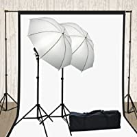 ePhoto H4051 Photography Video Muslin Backdrop Background Support Stand, 2 Lights Umbrella,2 Muslins Lighting Kit