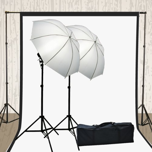 Ephoto Photography Video - ePhoto H4051 Photography Video Muslin Backdrop Background Support Stand, 2 Lights Umbrella,2 Muslins Lighting Kit