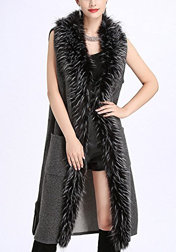 Chandail Faux Cardigan Veste Manches en Fox Cheveux Faux Femmes Gray Manteau Fourrure sans Col FOLOBE Tricot p5wFqvxRz