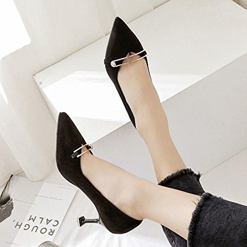 in chiusura calzature profonde satinato metallo di tacco alti bocca 35 tacchi Presidente nero donna scarpe scarpe poco solo alta ZnISZW0