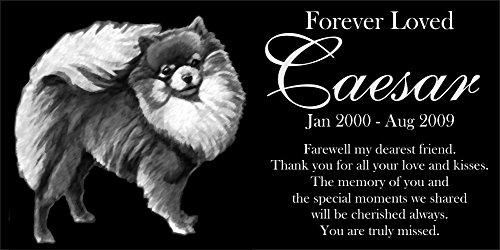 Lazzari Collections Personalized Pomeranian Pet Memorial 12''x6'' Engraved Black Granite Grave Marker Head Stone Plaque CAE1