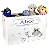 Personalized Boys Gray Owl Toy Box