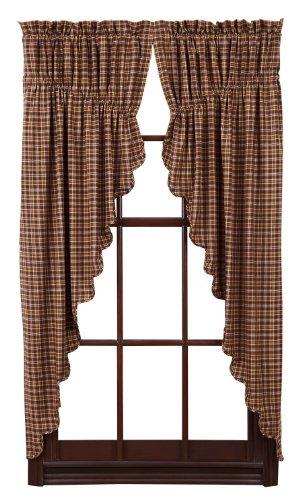 Nancy's Nook Prescott Prairie Curtain Scalloped Lined Set of 2 36x63x18