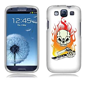 Fincibo (TM) Protector Cover Case Snap On Hard Plastic Front And Back For Samsung Galaxy S3 III i9300 i747 L710 I535 T999 - Fire Skull Orange