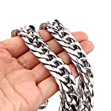 Mens Stainless Steel Silver Tone 16MM Wide Curb Link Chain Necklace