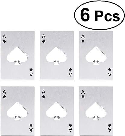 STOBOK Apribottiglie per Casin/ò Carte da Gioco a Forma di Poker Picche in Acciaio Inox Apertura Taglia Carte di Credito 6Pz