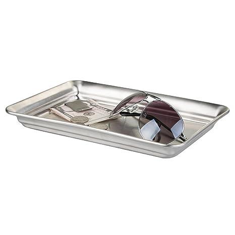 mDesign Moderna bandeja vacíabolsillos – Práctica bandeja inoxidable para relojes y perfume – Bandeja para gafas de acero inoxidable – Organizador de ...