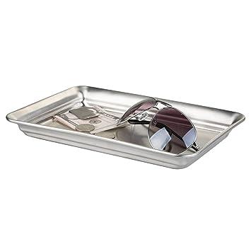 mDesign Moderna bandeja vacíabolsillos – Práctica bandeja inoxidable para relojes y perfume – Bandeja para gafas