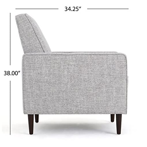 Farmhouse Accent Chairs GDFStudio Marston Mid Century Modern Fabric Recliner (Set of 2) (Light Grey Tweed) farmhouse accent chairs