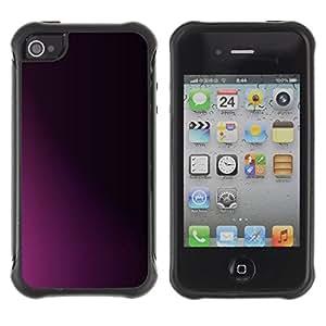 Suave Caso Carcasa de Caucho Funda para Apple Iphone 4 / 4S Clean Minimalist Purple Black Shadow / JUSTGO PHONE PROTECTOR