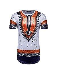 Colmkley Mens Fashion Africa Dashiki Shirt Tribal Print Short Sleeve Top T-Shirt