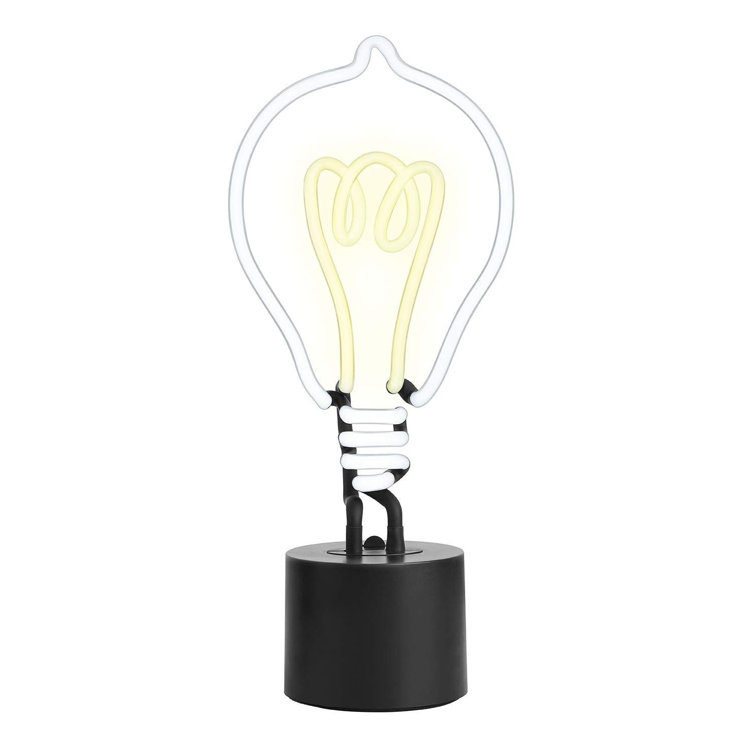 Amped & Co Lightbulb Real Neon Light Handcrafted Novelty Desk Lamp, Large 14x6, White/Yellow Glow