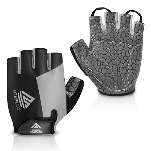 HTZPLOO Bike Gloves Bicycle Gloves Cycling Gloves Mountain Biking Gloves with Anti-Slip Shock-Absorbing Pad Breathable Half Finger Outdoor Sports Gloves for Men&Women (Black&Grey, Small)