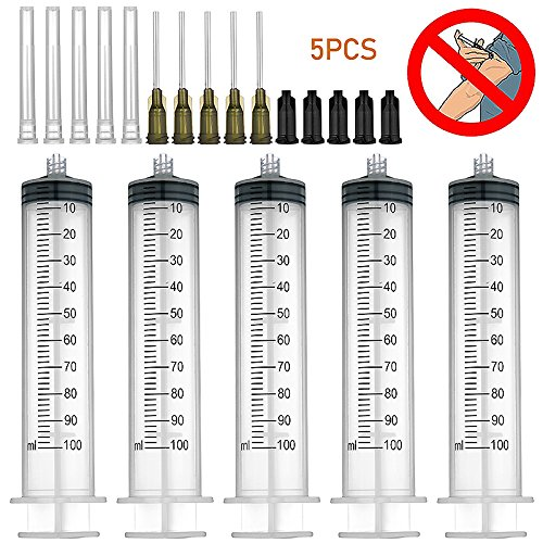 5 Pack 100ml Syringes with 14Gx1.0'' Blunt Tip Fill Needles and Storage Caps(Luer Lock) (Ml 100 Syringes)
