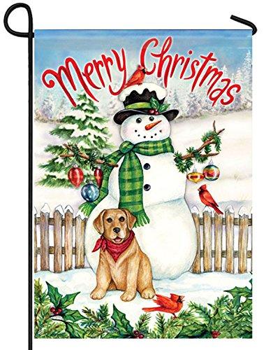 Snowman & Dog Christmas Garden Flag Snow Birds Cardinal Puppy Winter 12 x 18 inch