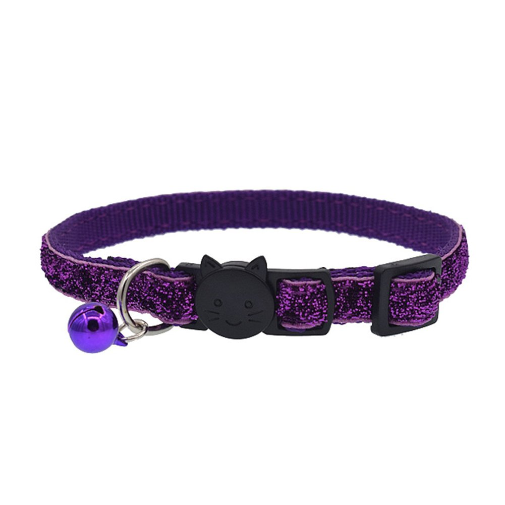 wanshenGyi Pet Collar, Fun, Cute, Hot, Fashion Glitter Cat Kitten Collar with Bell Safety Buckle Adjustable Pet Supply - Purple, Pet Toys, Home, Travel, Gifts.