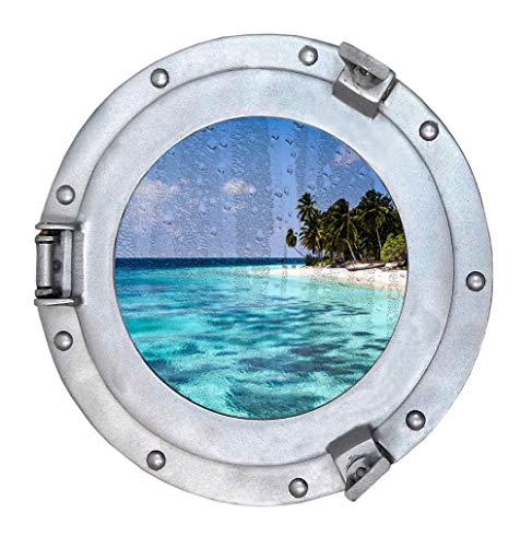 (Nautical Round Ship Porthole Windows - Maritime Nautical Home Decor/Boat Fan Gift (Silver/Glass))