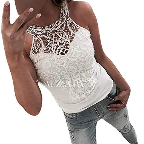 - QingFan Summer Fashion Sexy Womens Solid Hollow Out Lace Applique O-Neck Vest Tank Tees Tops T-Shirt (S, White)