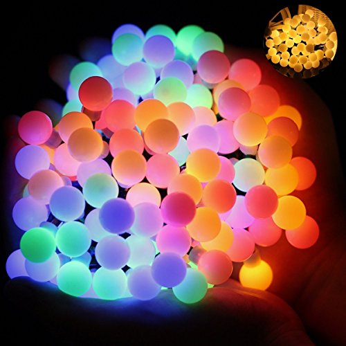 Ball Fairy Lights, OMGAI 17Ft 60 LED Waterproof Color Changing Globe String Lights for Outdoor, Home, Garden, Patio, Wedding, Party, Fence, Christmas Tree Decoration, Warm White and Multi-Color Exterior Sign Light