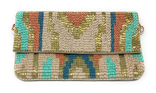 Olivia Beaded Clutch Evening Bag by Shumeera (Copper Clutch)